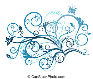 floral, turquesa, elemento del diseño