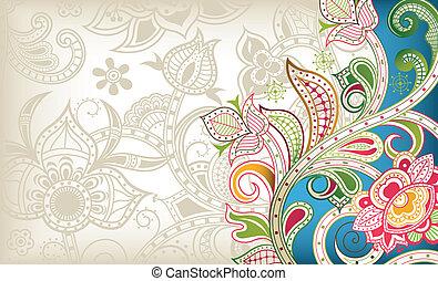 floral, turquesa, fundo