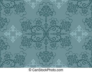 floral, turquoise, papier peint, seamless
