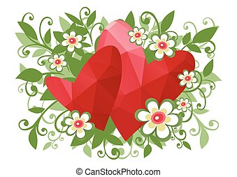 floral two hearts background