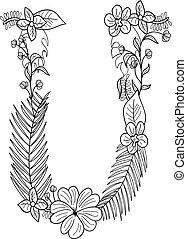 floral, u, ornamento, letra
