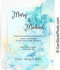 floral, uitnodiging, template., trouwfeest