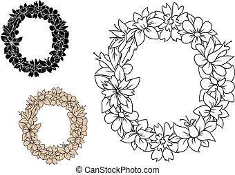 floral, uppercase, brief, o, met, ouderwetse , bloemen
