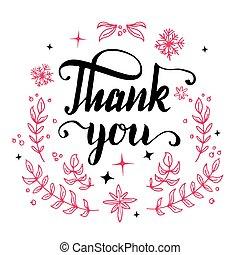 floral, usted, caligrafía, diseño, agradecer