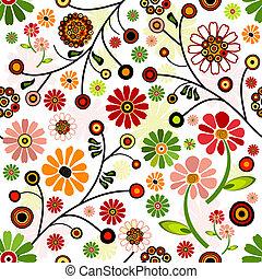 floral, vívido, seamless, padrão