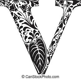 Floral V - Floral initial capital letter V