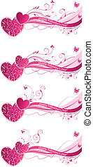 floral, valentine, achtergronden, golf