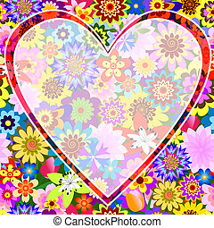 Floral valentine frame