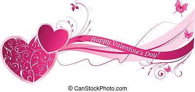 floral, valentine, fundo, onda
