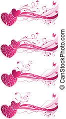 floral, valentine, fundos, onda