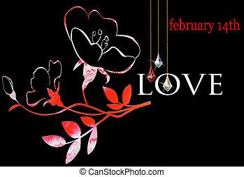 Floral Valentine on a black