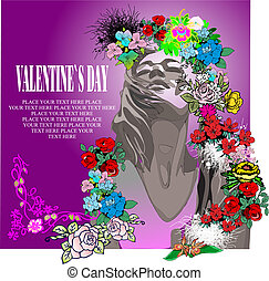 Floral Valentine`s Day Greeting card