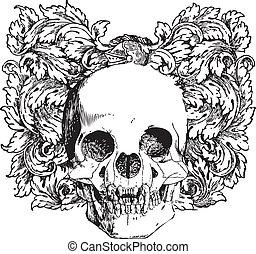 Floral vampire skull illustration - Great for illustrations,...