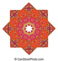 floral, ve, isolé, arrière-plan., impression, blanc, mandala, rouges