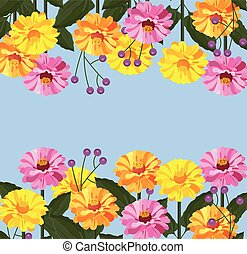 floral, vecteur, bannière, carte, fond