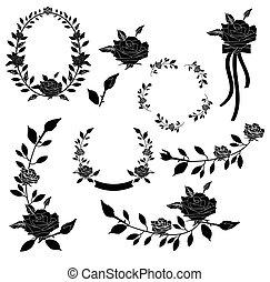 floral, vecteur, collection, élément