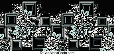 floral, vecteur, frontière, seamless