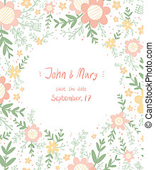 floral, vecteur, mariage, date, sauver, template.