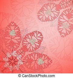floral, vecteur, ornement, arrière-plan rouge
