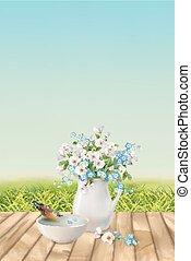 floral, vecteur, paysage