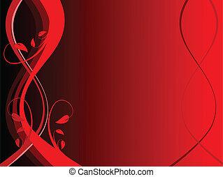 floral, vecteur, rouges, illustration