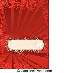 floral, vecteur, rouges, papier peint