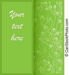 floral, vecteur, vert, carte, fond