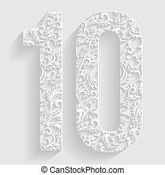 floral, vector, 10., número, invitación