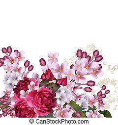 floral, vector, achtergrond, met, sering, bloemen, en, rozen