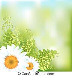 floral, vector, achtergrond