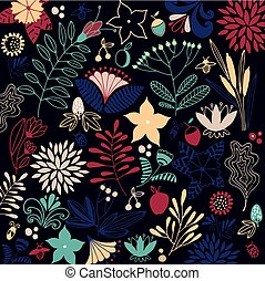 Floral vector background. Bright composition.