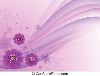 Floral vector background with beautiful pink flowers