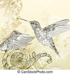 Floral  vector background  with humming bird and swirls