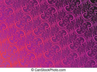 floral, vector, behang