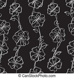 floral, vector, black , seamless, achtergrond
