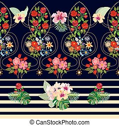 Floral vector border with tropical style elements.
