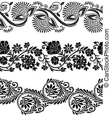 Floral vector borders