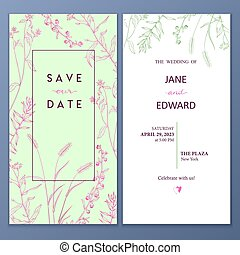 Floral vector card, wedding invitation. Can be used for - save the date, mothers day, valentines day, birthday cards.