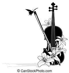 floral, vector, composición musical