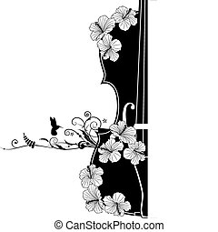 floral, vector, composición musical