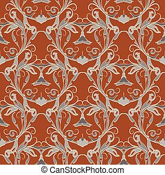 Floral vector damask seamless pattern.  Ornate baroque backgroun