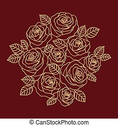 Floral vector design with beige outline roses wreath -...