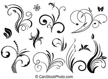 floral, vector, elementos