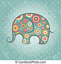 Floral vector elephant - Abstract floral elephant on grunge...