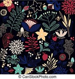 floral, vector, fondo.