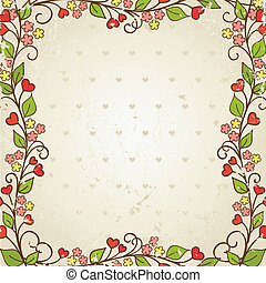 floral, vector, frame., illustration.