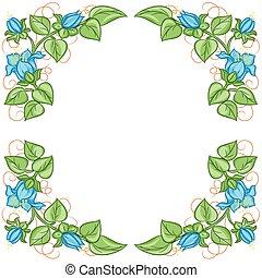 floral, vector, frame.