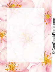 Floral vector frame with watercolor cherry or sacura flowers background.