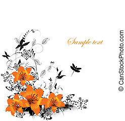 floral, vector, grens