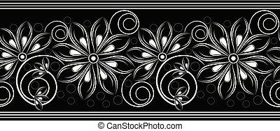 floral, vector, grens, seamless, zich verbeelden